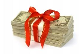 cash wrapped in bow