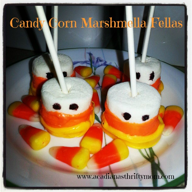 Candy Corn Marshmellow Pops