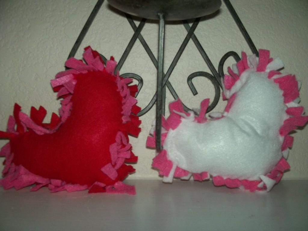 DIY No Sew Heart Pillows