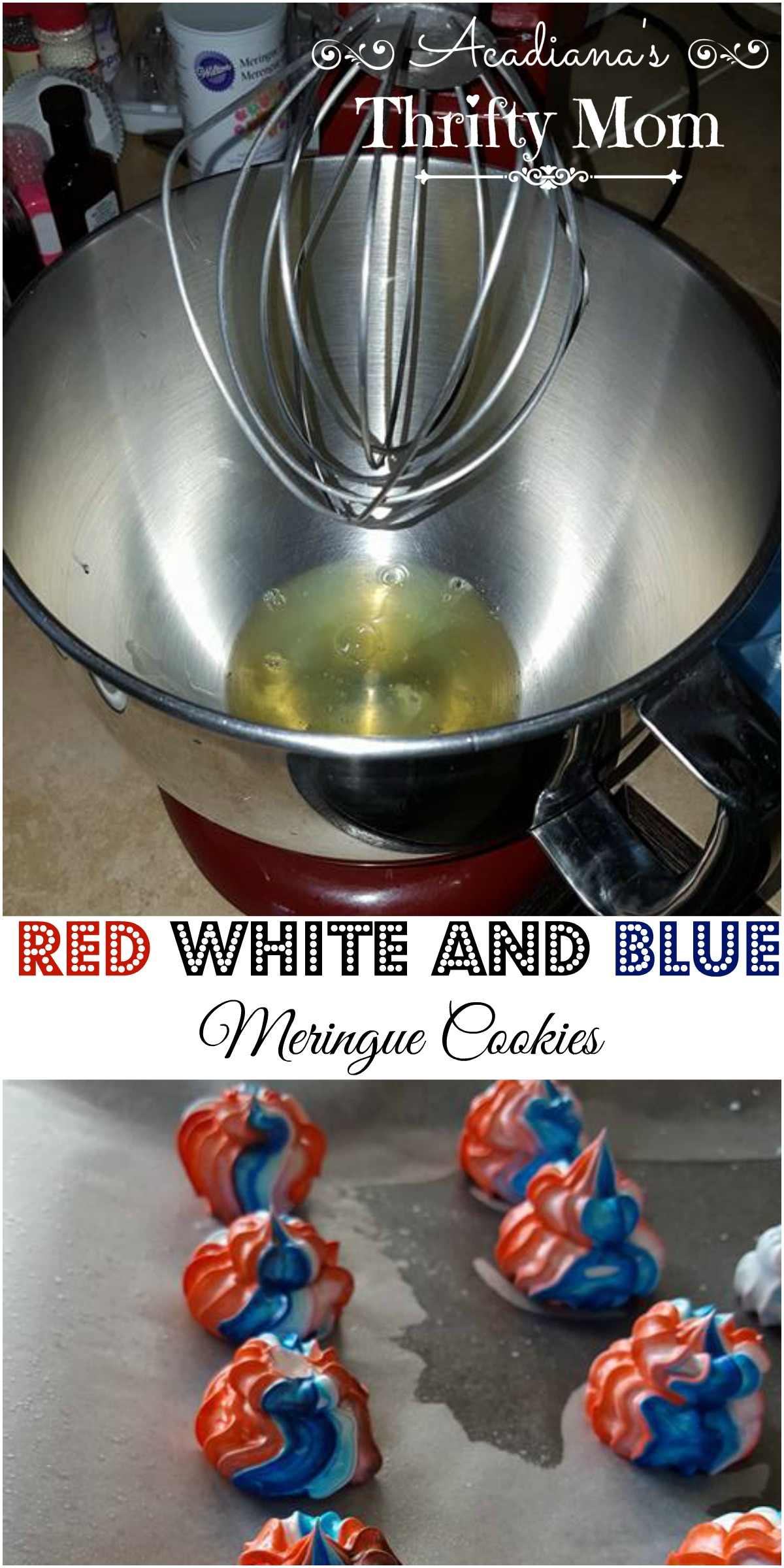 Red White And Blue Meringue Cookies