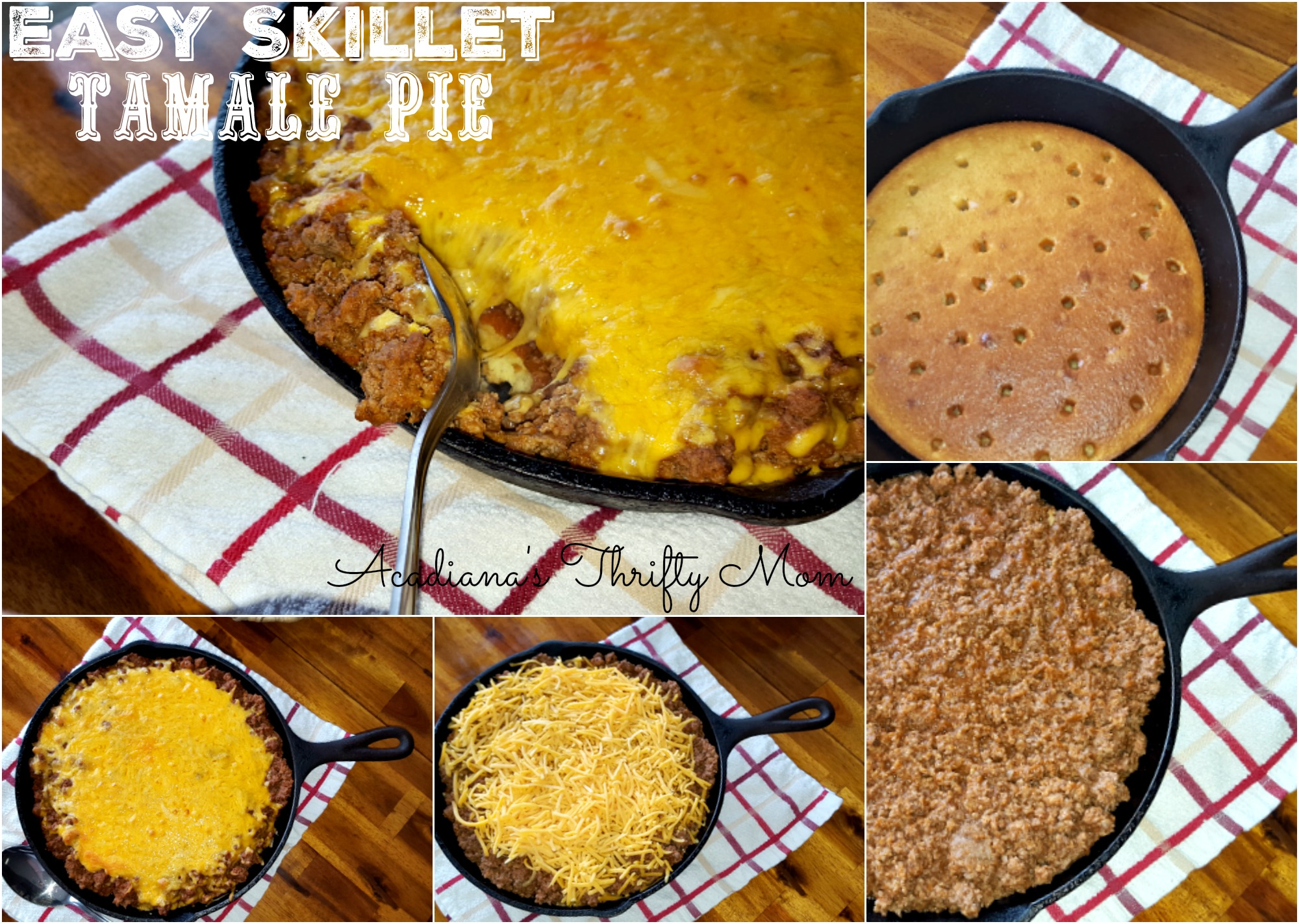 easy skillet tamale pie Collage