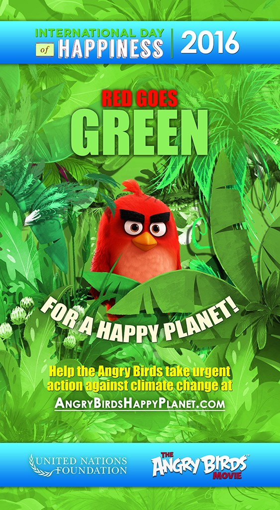 Red Named Ambassador For Green on International Day of Happiness #AngryBirdsMovie