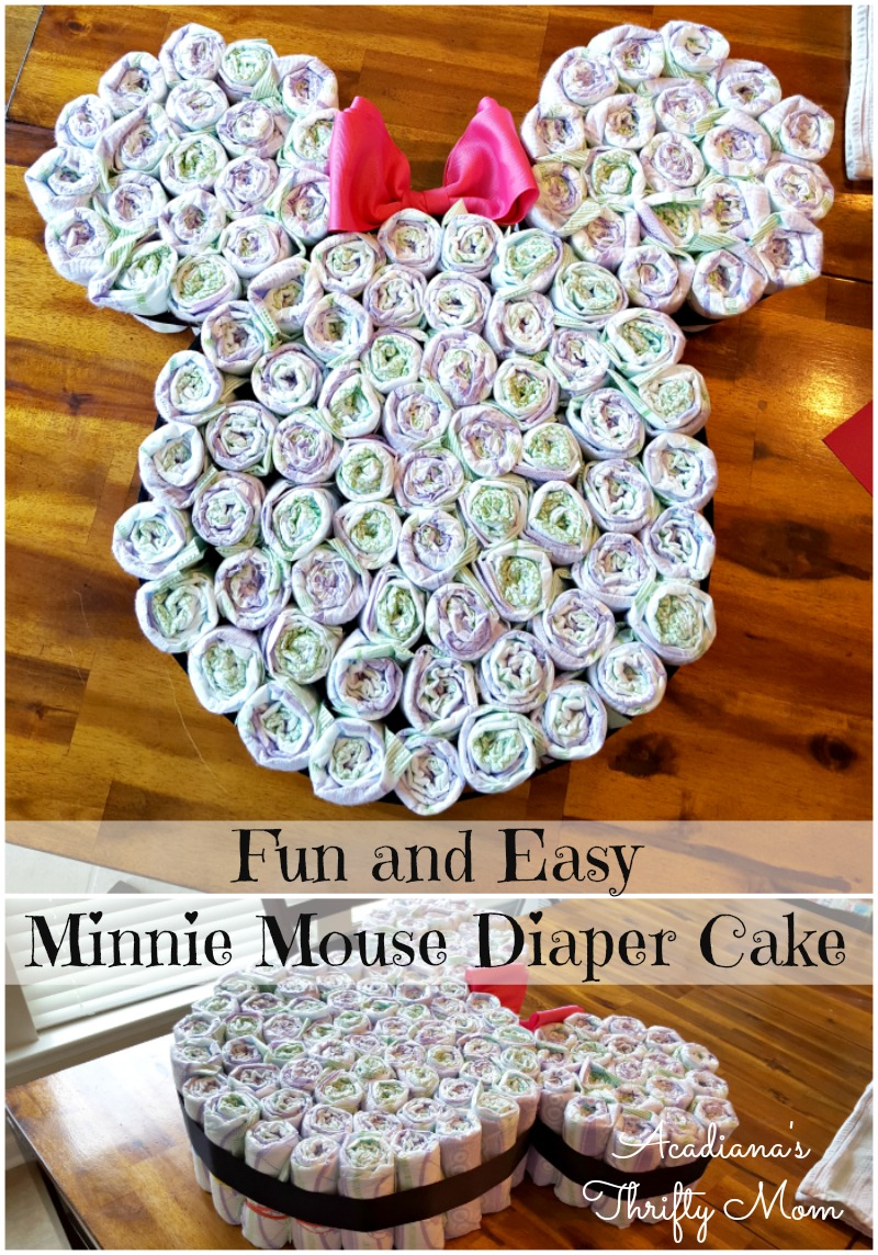 Fun and Easy Minnie Mouse Diaper Cake #Disney