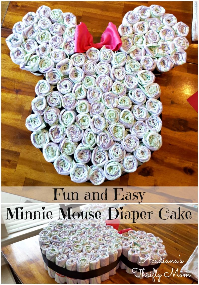 Fun and Easy Minnie Mouse Diaper Cake #Disney