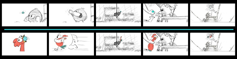 """The MOANA story team was charged with saving the character """"Heihei"""" from being cut from the film. These story boards illustrate an action sequence from the film in which the Kakamora are trying to steal the Heart of Te Fiti from Moana and Maui. In the initial version (top row), the Kakamora steal the heart and are pursued by Moana who captures it back. In the new versoin (bottom row), rooster Heihei first swallows the Heart of Te Fiti, and the chase ensues between the Kakamora and Moana, only this time they're fighting to maintain posession of Heihei. Artist: Sunmee Joh, Story Artist."""