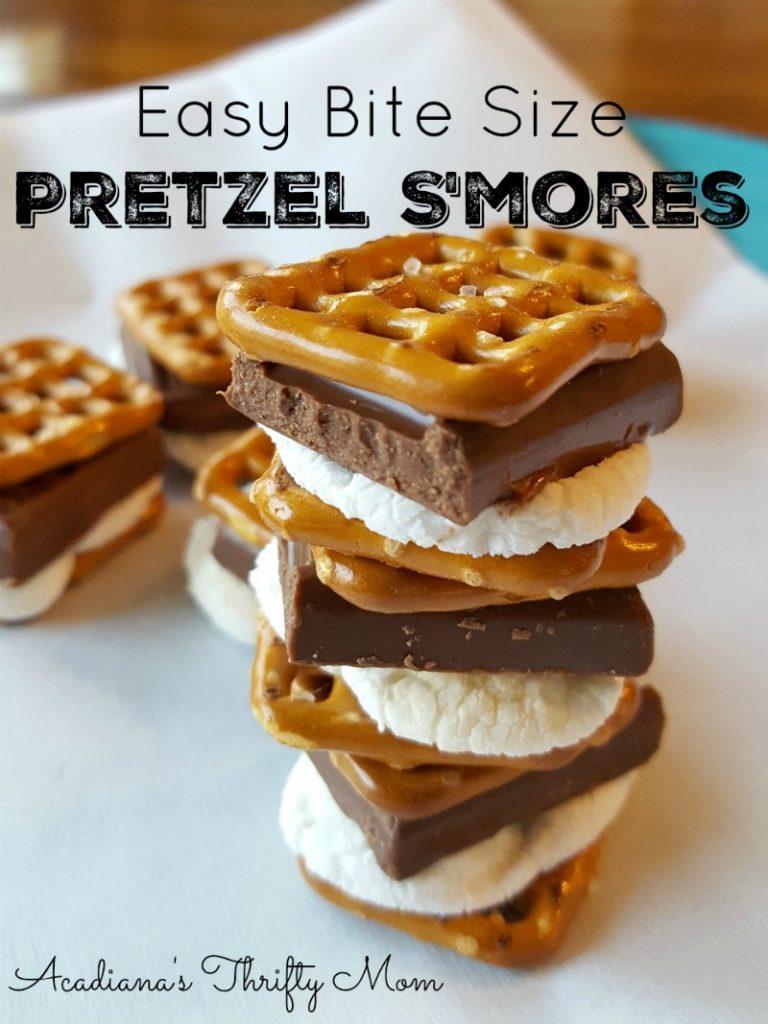 Easy Bite Size Pretzel S'mores