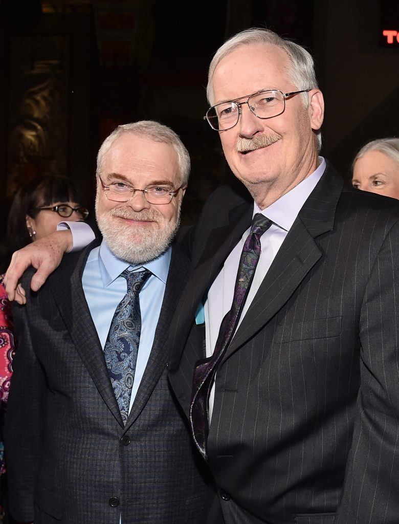 "HOLLYWOOD, CA - NOVEMBER 14: Directors Ron Clements (L) and John Musker attend The World Premiere of Disney's ""MOANA"" at the El Capitan Theatre on Monday, November 14, 2016 in Hollywood, CA. (Photo by Alberto E. Rodriguez/Getty Images for Disney) *** Local Caption *** John Musker; Ron Clements"