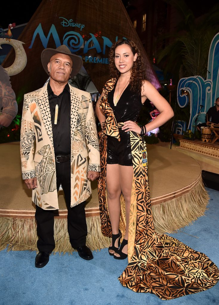 "HOLLYWOOD, CA - NOVEMBER 14: Musicians Opetaia Foa'i (L) and Olivia Foa'i of Te Vaka attend The World Premiere of Disney's ""MOANA"" at the El Capitan Theatre on Monday, November 14, 2016 in Hollywood, CA. (Photo by Alberto E. Rodriguez/Getty Images for Disney) *** Local Caption *** Opetaia Foa'i; Olivia Foa'i"