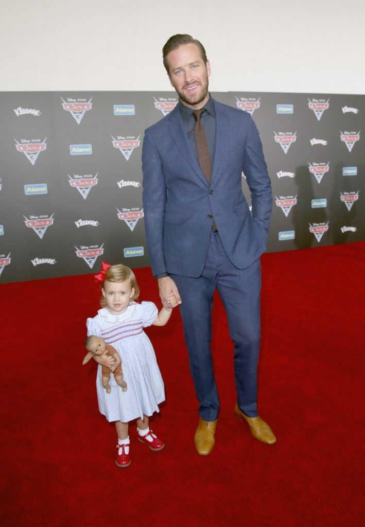 "ANAHEIM, CA - JUNE 10: Harper Hammer (L) and actor Armie Hammer pose at the World Premiere of Disney/Pixar's ""Cars 3"" at the Anaheim Convention Center on June 10, 2017 in Anaheim, California. (Photo by Jesse Grant/Getty Images for Disney) *** Local Caption *** Armie Hammer;Harper Hammer"