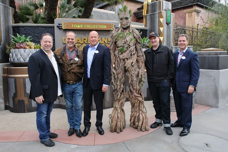 WE ARE GROOT -- (May 25, 2017) Joe Quesada, Chief Creative Officer of Marvel Entertainment, Joe Rohde, Walt Disney Imagineering Senior Vice President Creative, Bob Chapek, Chairman of Walt Disney Parks and Resorts, Kevin Feige, President of Marvel Studios, and Michael Colglazier, President of the Disneyland Resort. at the grand opening of the new Guardians of the GalaxyÐMission: BREAKOUT! attraction at Disney California Adventure park, in Anaheim, Calif., on Thursday. The epic new adventure blasts guests straight into the ÒGuardians of the GalaxyÓ story for the first time, alongside characters from the blockbuster films and comics. (Joshua Sudock/Disneyland Resort)