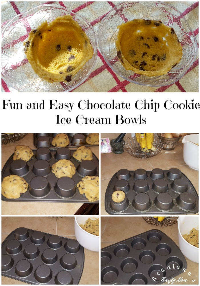 Fun and Easy Chocolate Chip Cookie Ice Cream Bowls