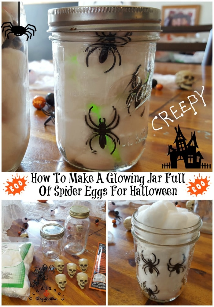 How To Make A Glowing Jar Full Of Spider Eggs For Halloween