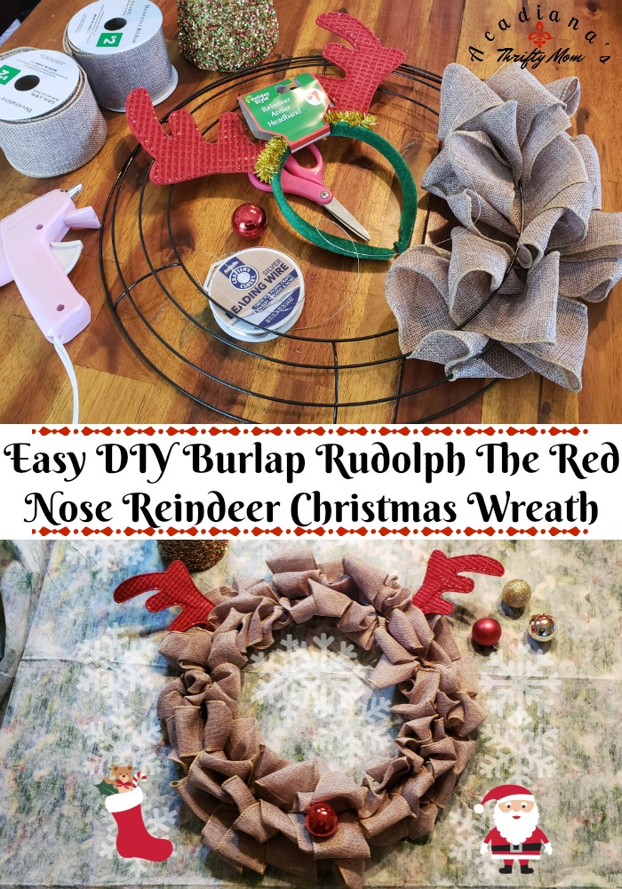 Easy DIY Burlap Rudolph The Red Nose Reindeer Christmas Wreath