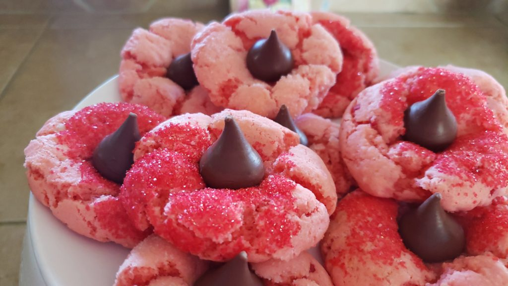 Chocolate Covered Strawberry Blossom Cake Mix Cookies